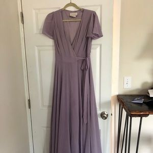 Lilac BHLDN Wrap Dress.